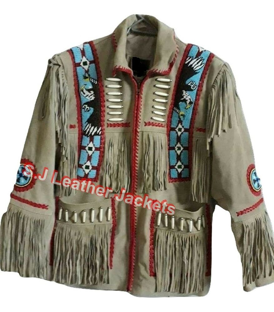 Mens Native American Beads: Men's Native Western Indian Fringed & Beaded Suede Jacket