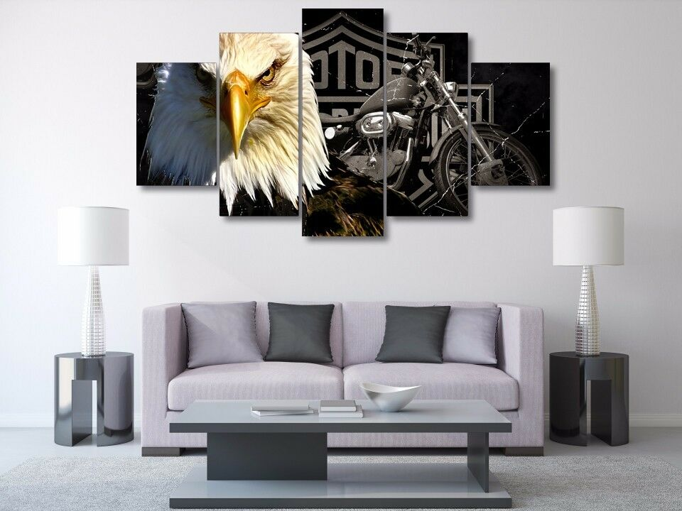 5 panels harley davidson motor cycles eagle painting for Eagle decorations home