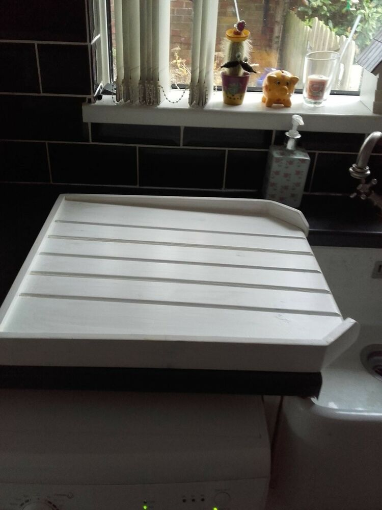 Belfast Sink Drainer White Washed Effect And Varnished Ebay