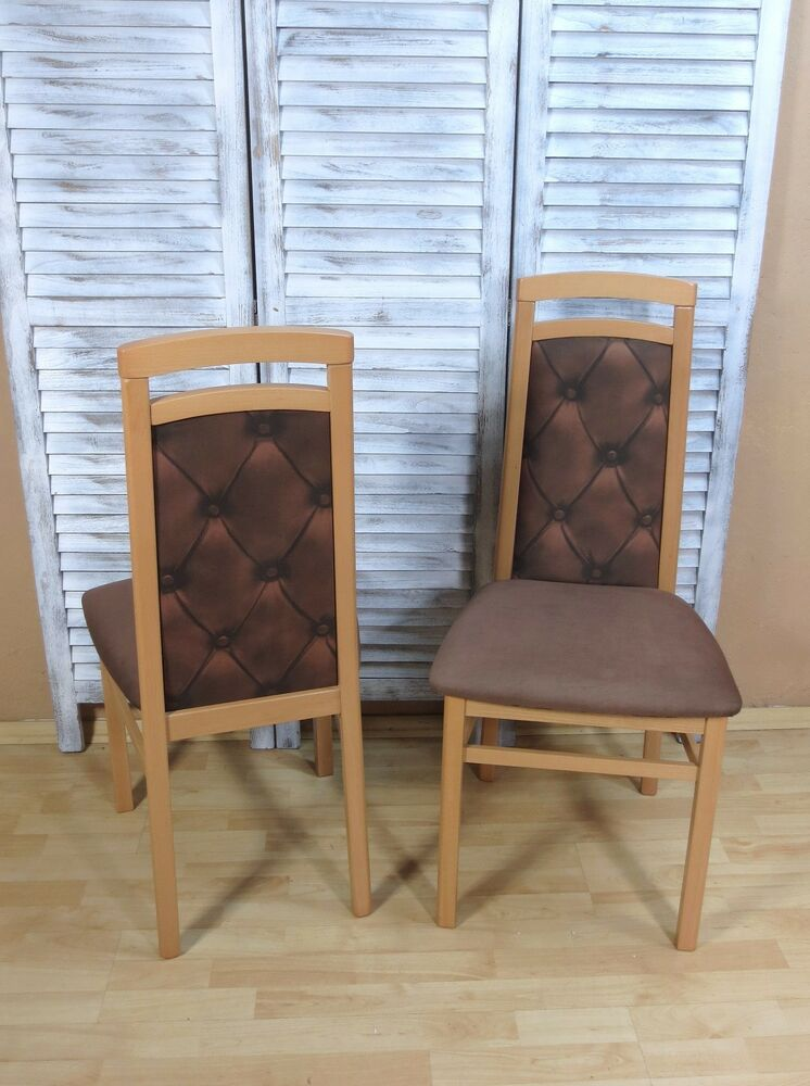 2 x st hle buche schoko massivholz stuhlset modern design g nstig preiswert neu ebay. Black Bedroom Furniture Sets. Home Design Ideas