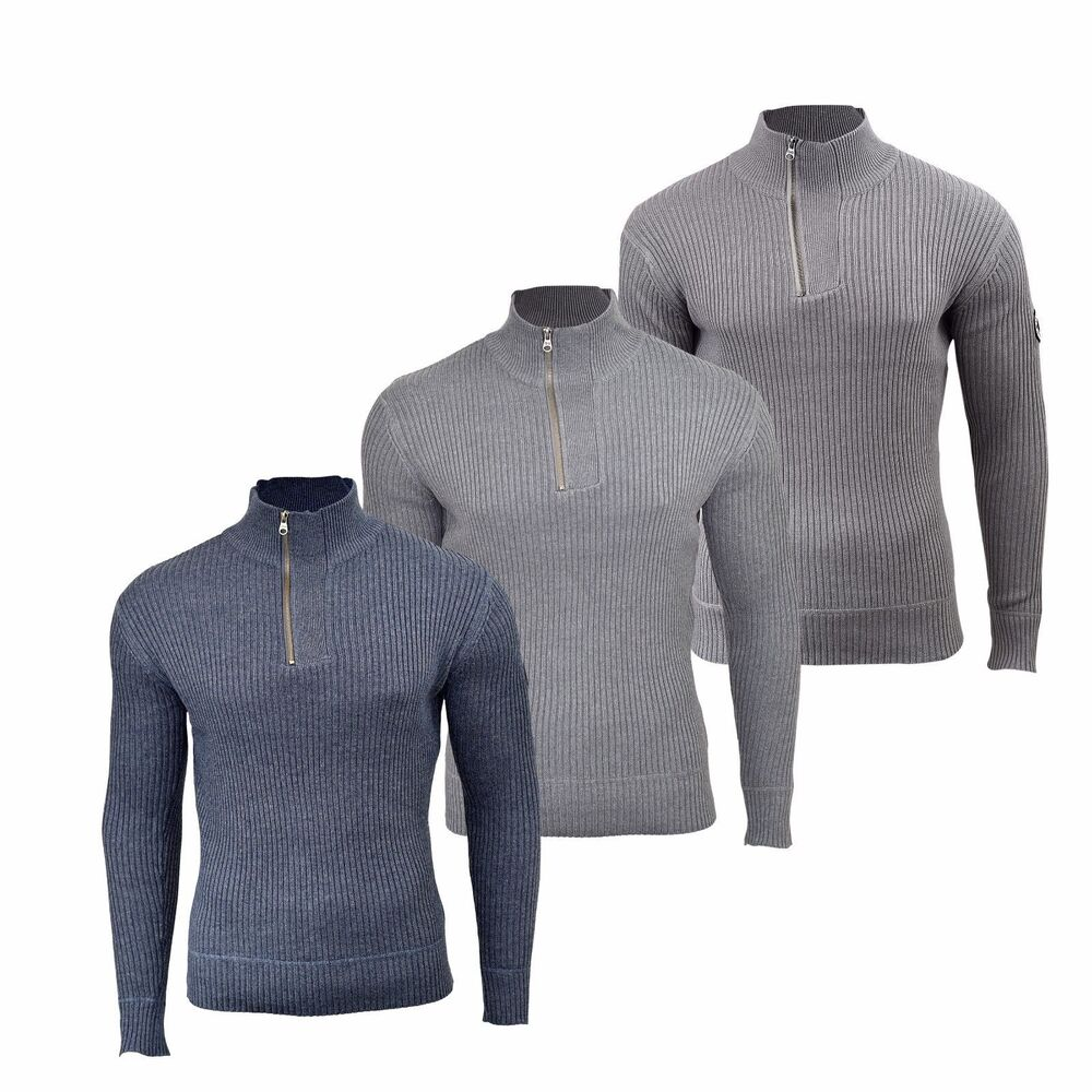 ea515d7323ab47 Mens Jumper Crosshatch Waffle Knitted 1/4 Zip Up Funnel Neck Sweater | eBay