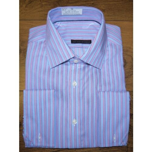 487723bb3db9 Details about M S MENS LUXURY SHIRT Pure Cotton Twin Striped OXFORD Shirt+DOUBLE  CUFF SHIRT
