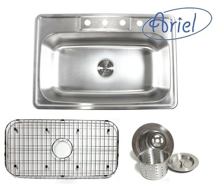 kitchen sink package ariel 33 inch stainless steel top mount single bowl 2809