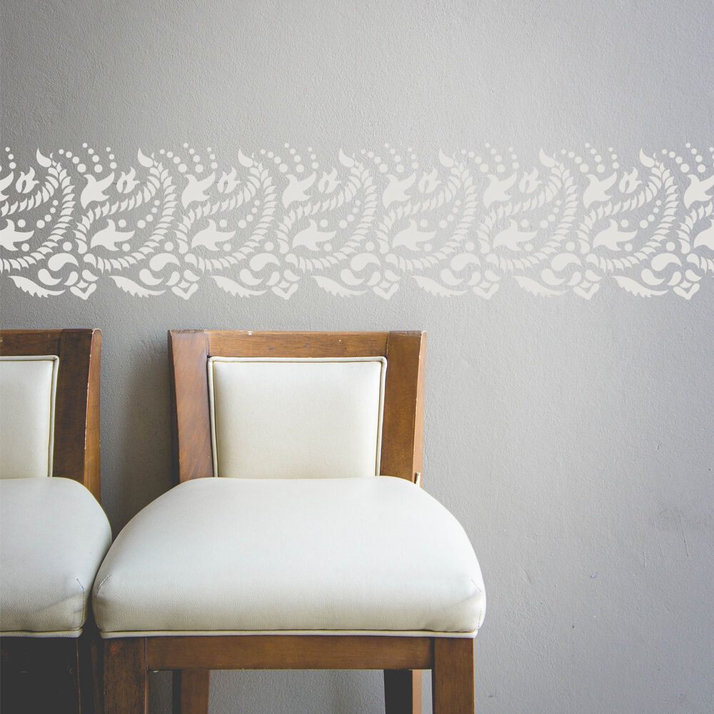 Details About Paisley Wall Border Stencil For Diy Decor Indian Design