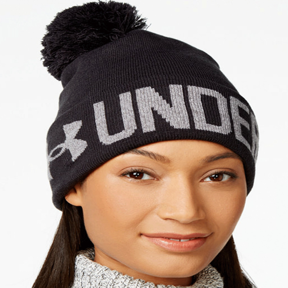 2c61f74fc63 Details about Under Armour Graphic Pom Pom Women Beanie One size Adult Black
