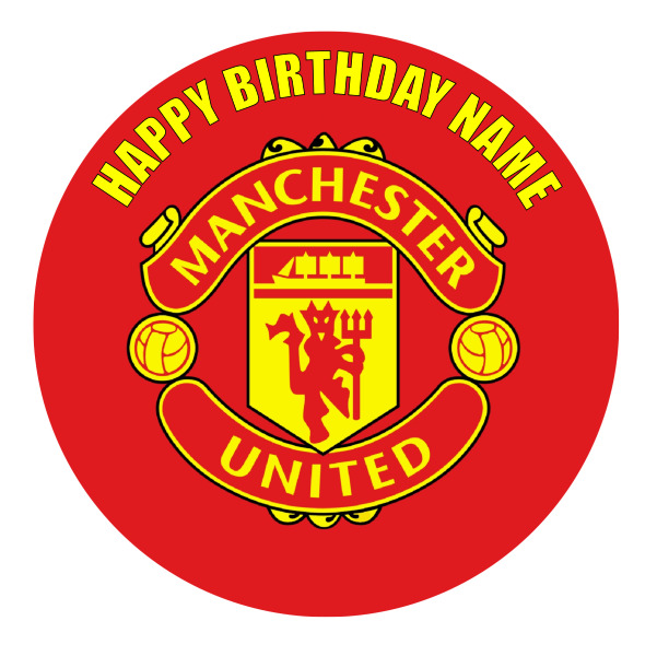 Manchester United Personalised Edible Birthday Cake Decoration