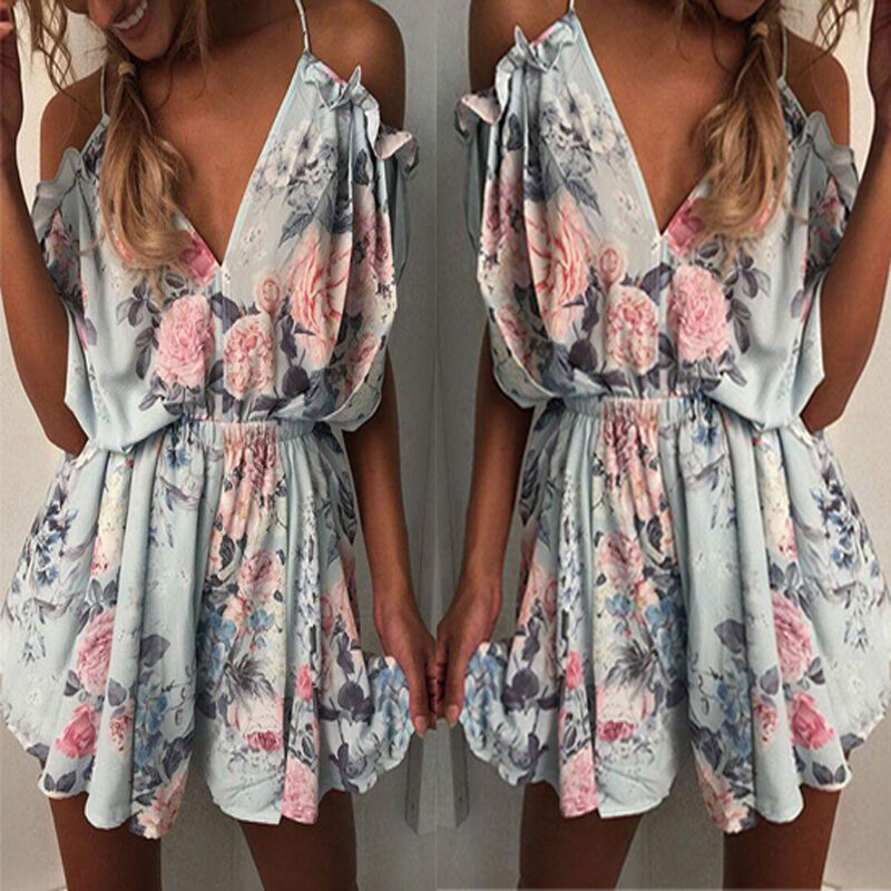 c53097f0a31 Details about New Boho Womens Cold Shoulder Holiday Mini Playsuit Shorts  Summer Beach Jumpsuit