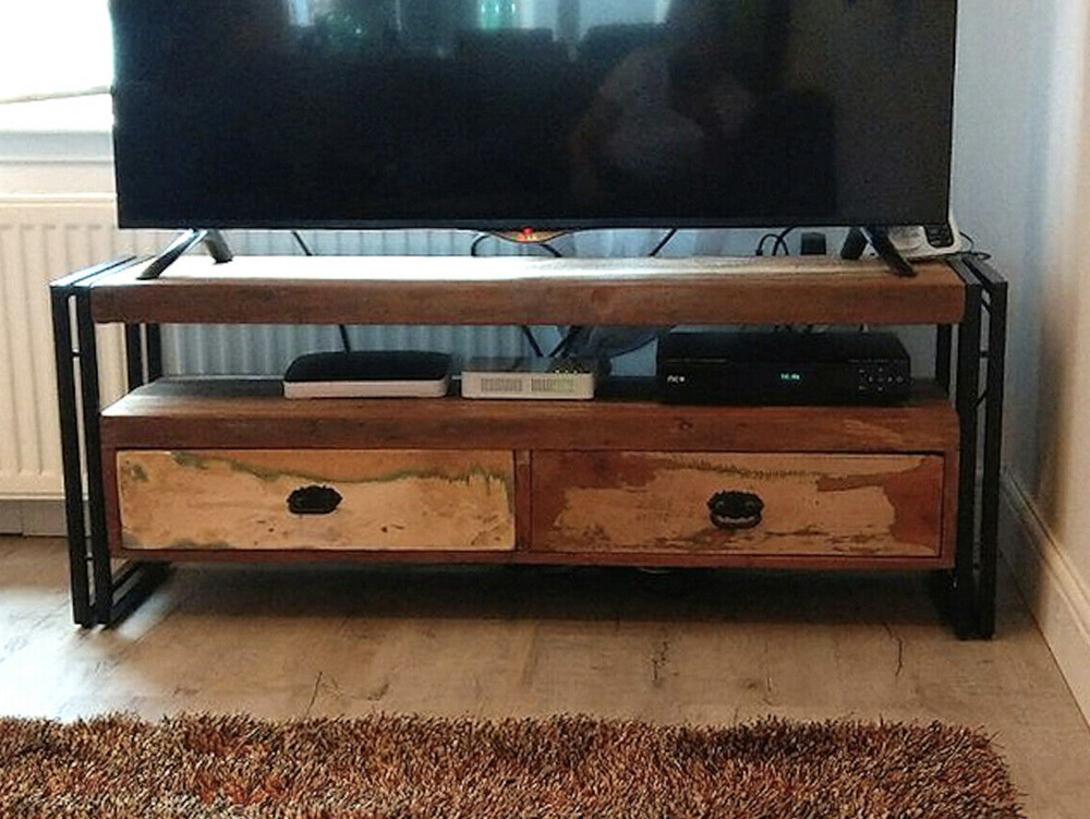 Details about industrial tv stand reclaimed rustic furniture metal media cabinet vintage unit