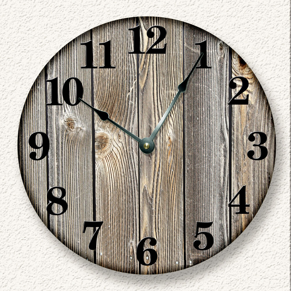 Old Weathered Boards Wall Clock Rustic Cabin Country