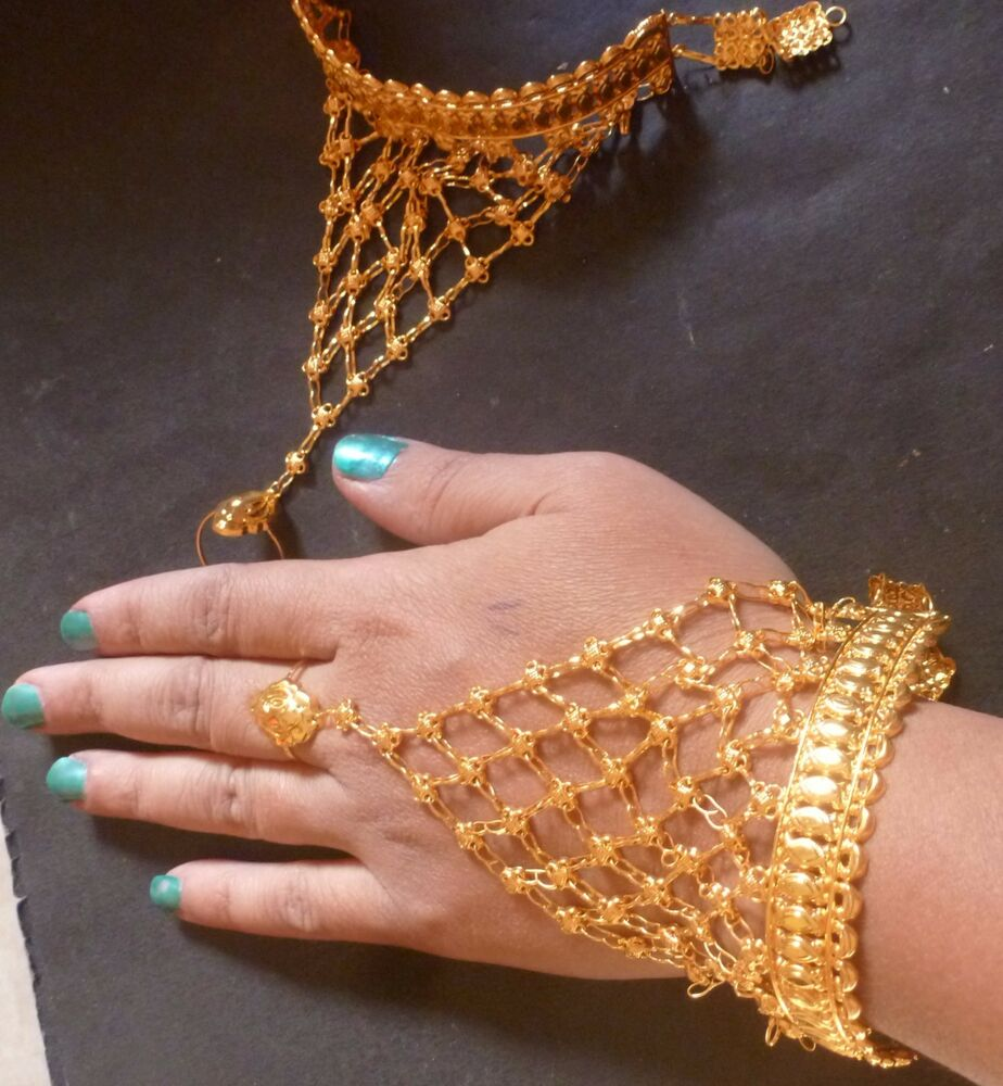 22K Gold Plated Indian one Ring Two Pieces Haat panja Hand ...