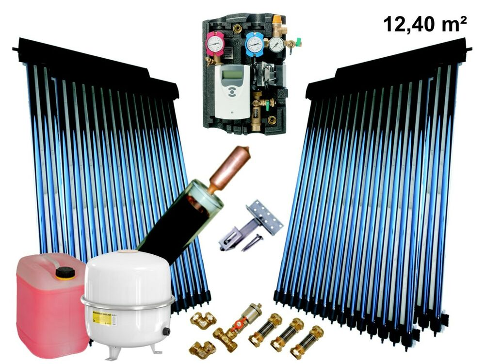solaranlage komplettpaket r hren kollektor bafa 12 4 m mit 24mm power heatpipe ebay. Black Bedroom Furniture Sets. Home Design Ideas