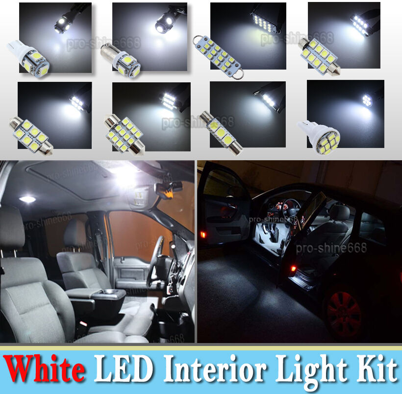 10x Blue Interior Led Lights Replacement Package Kit Fit: 10-pc White LED Interior Light Bulbs Package Kit Fit 02