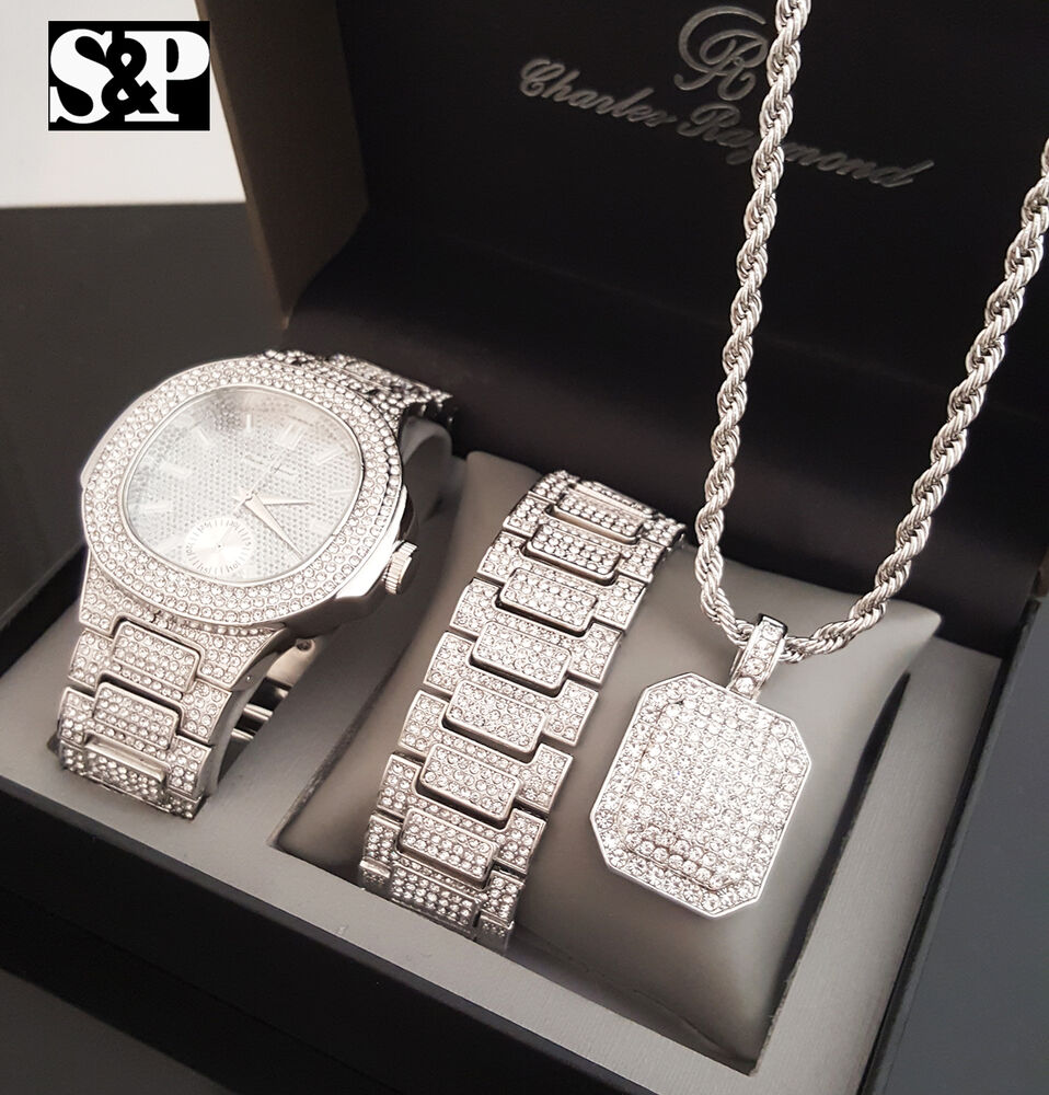 Men Hip Hop White Gold Pt Watch Amp Full Iced Out Necklace