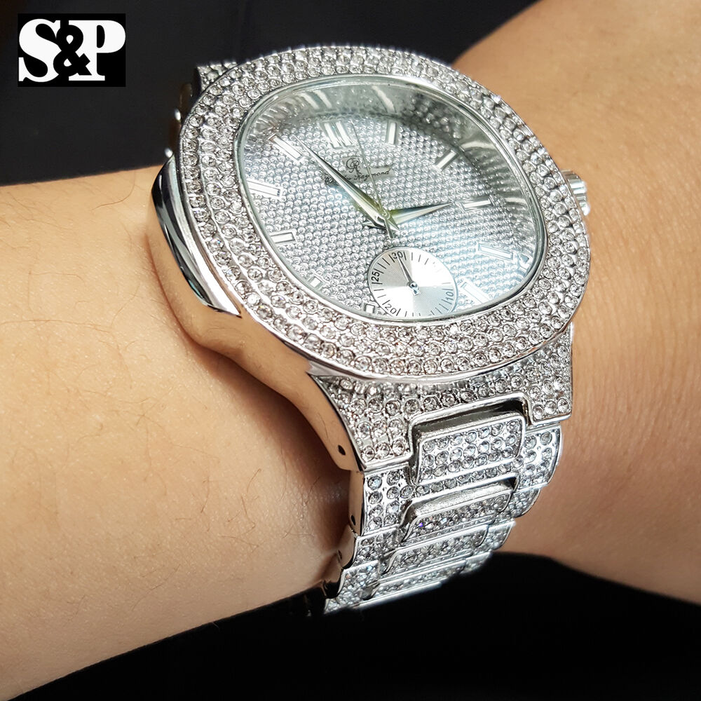 Men S Luxury Urban Style Bling White Gold Pt Simulated Diamond Bracelet Watch Ebay
