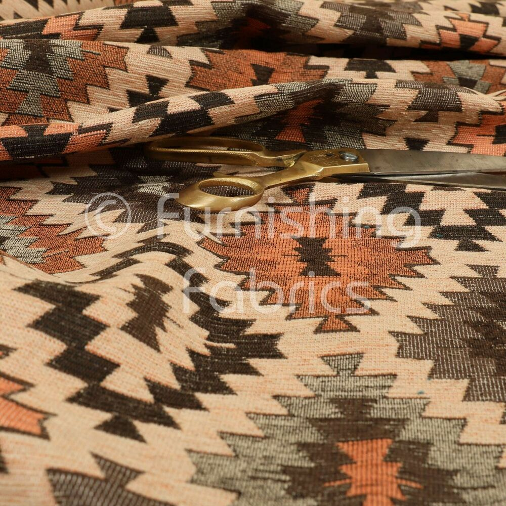New aztec medallion geometric pattern in orange brown for Furnishing fabrics