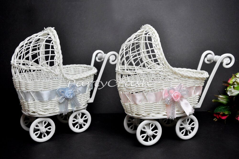 Baby shower party decoration girl pink wicker