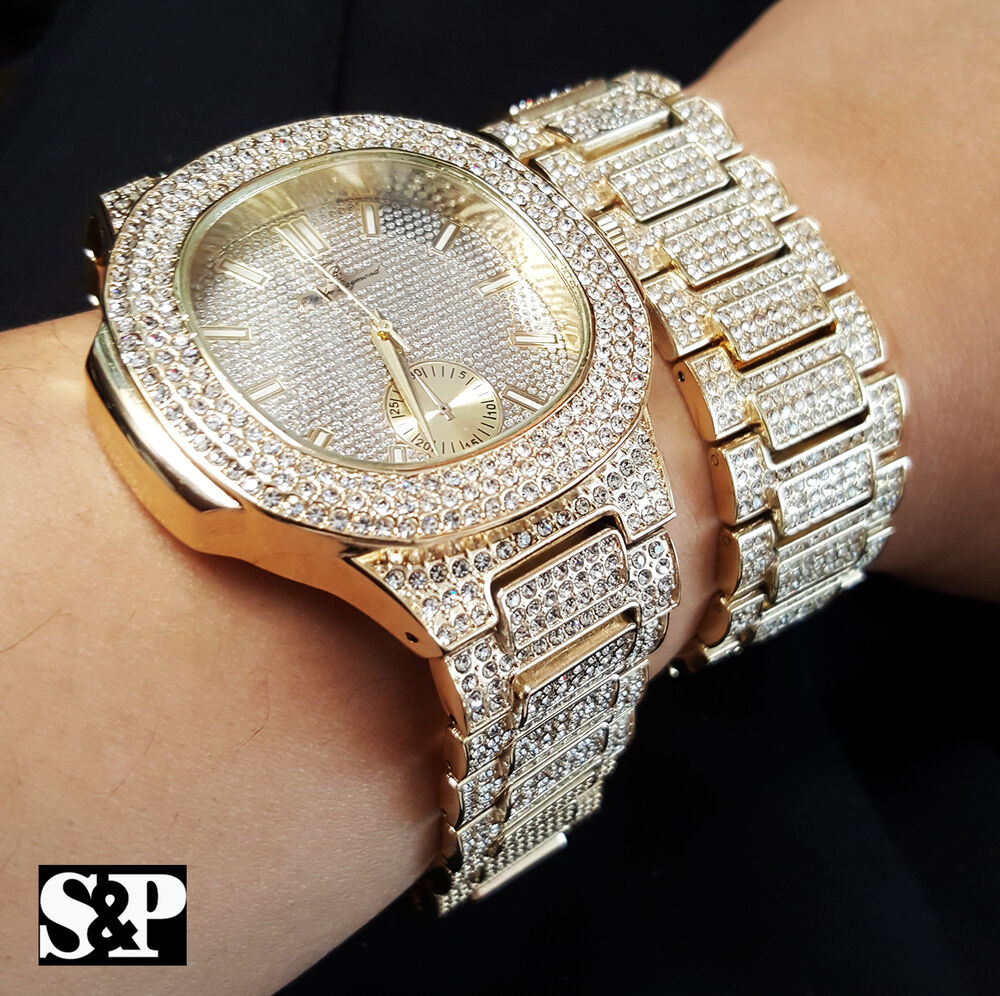 New Men Iced Out Hip Hop Gold Pt Lab Diamonds Jay Z Watch