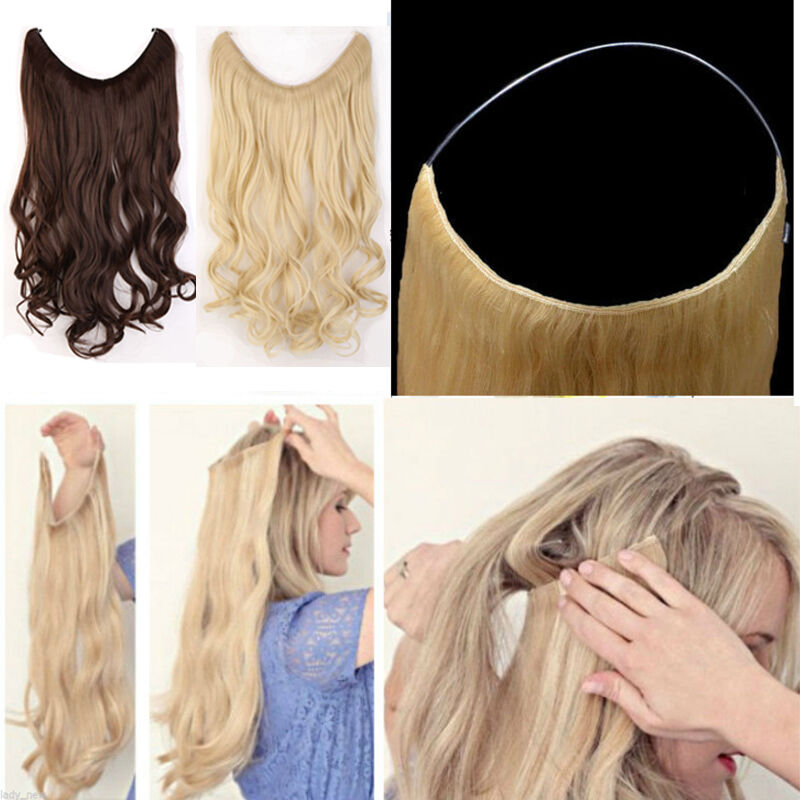 Thick Long Human Remy Halo Body Wave Secret Invisible Wire