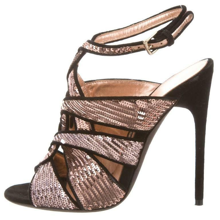 173979520335  2170 New TOM FORD EVEN Sandals Nude Pink Sequin Black Suede Heels Shoes 41