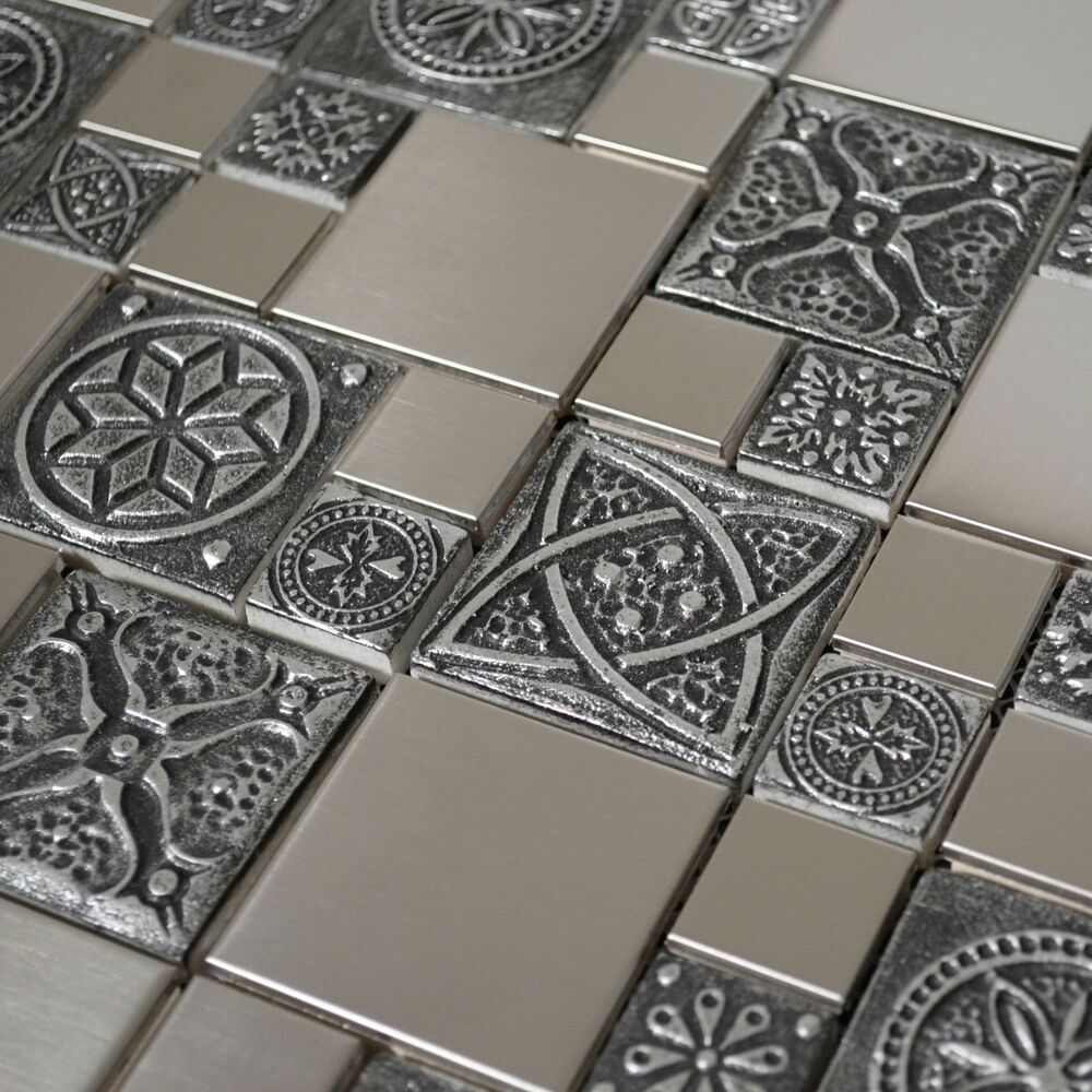 Kitchen Wall Accessories Stainless Steel: Stainless Steel Metal Mosaic Tile For Kitchen Backsplash