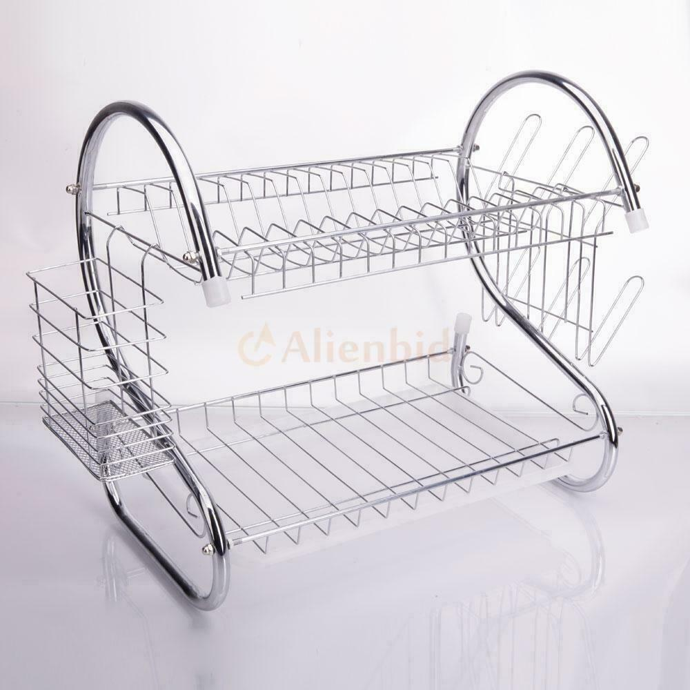 kitchen dish cup drying rack holder sink drainer 2 tier dryer stainless steel 710120737938 ebay. Black Bedroom Furniture Sets. Home Design Ideas