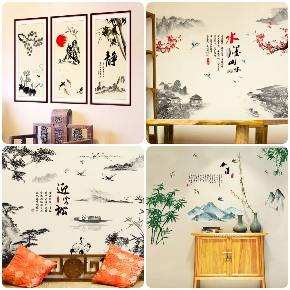 Asian oriental style wall art stickers mural decals for Asian wallpaper mural