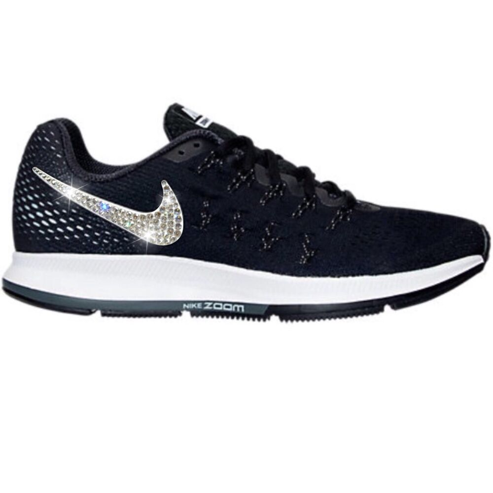 Details about Bling Nike Air Zoom Pegasus 33 Shoes w  Swarovski Crystal    Black White 85f8e8169