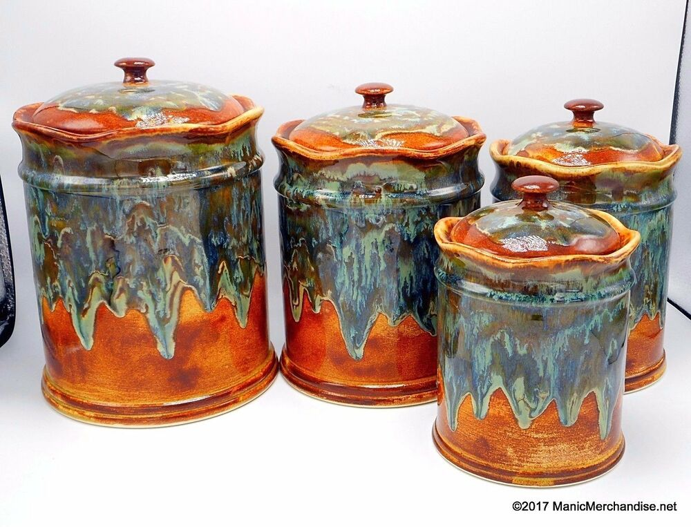 brown kitchen canister sets southwest pottery drip glaze 8 canister set 16503
