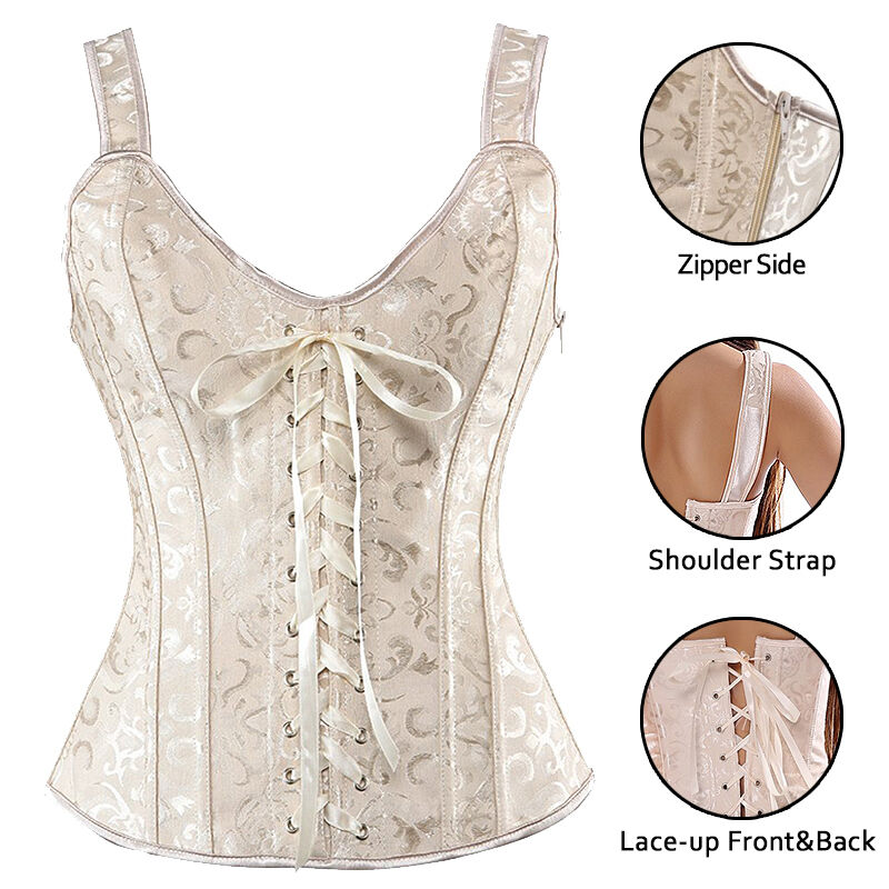 7b4f6605803 Details about Gothic Steampunk Lace up Boned Halter Corset Overbust Top  Waist Body Shaper Z6