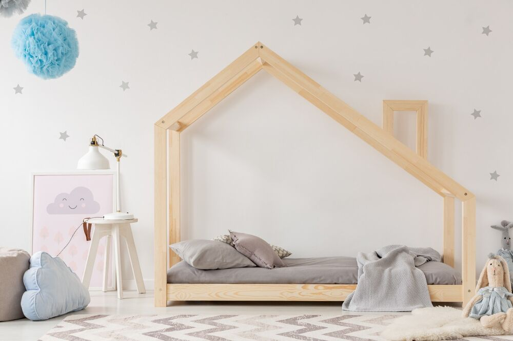 kinderbett kinderhaus bett f r kinder 22 dimensions bett holz 3 farben wei grau ebay. Black Bedroom Furniture Sets. Home Design Ideas