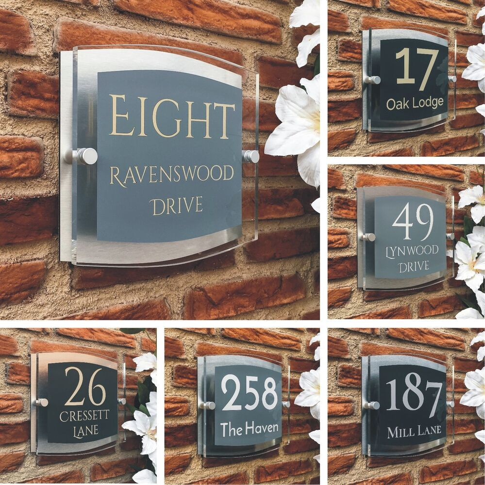 b06205474d3 Details about Glass House Number Plaque Door Sign Modern Personalised Acrylic  Address