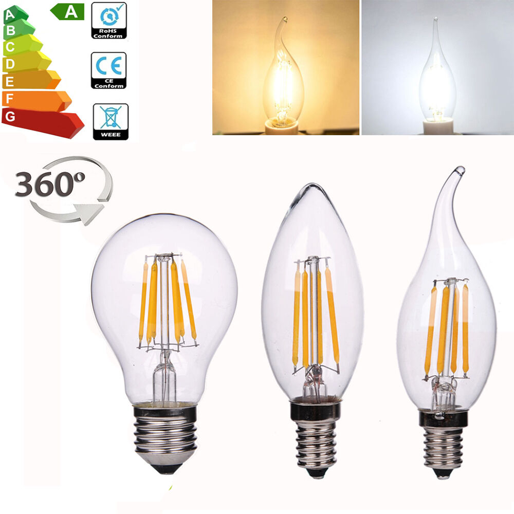 8x 4x led e14 e27 edison lampe filament leuchtmittel kerze birne gl hbirne licht ebay. Black Bedroom Furniture Sets. Home Design Ideas