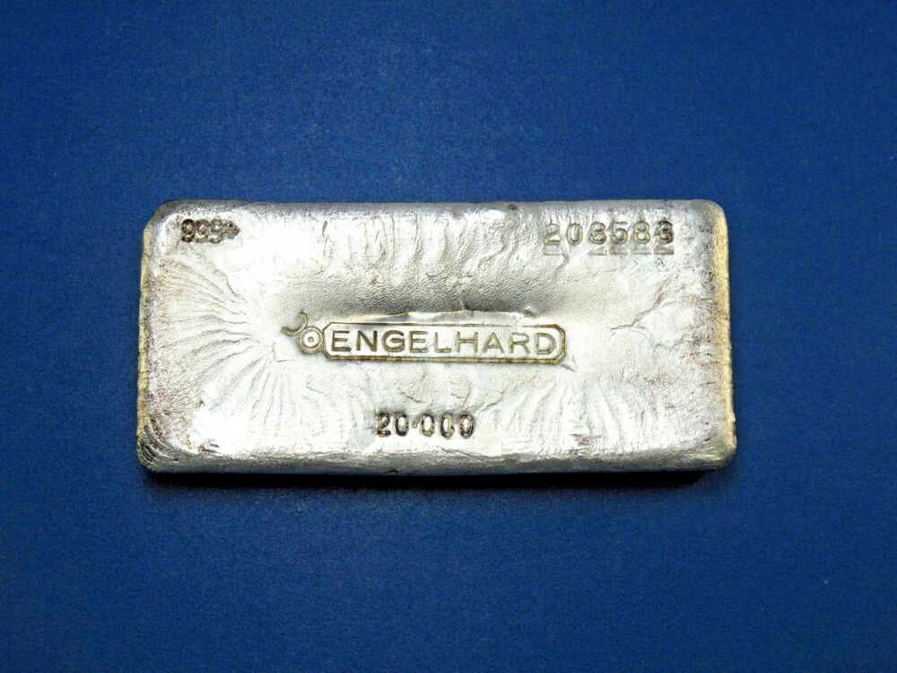 Engelhard 20 Oz Silver Bullion Bar Canadian Early Pour Lo
