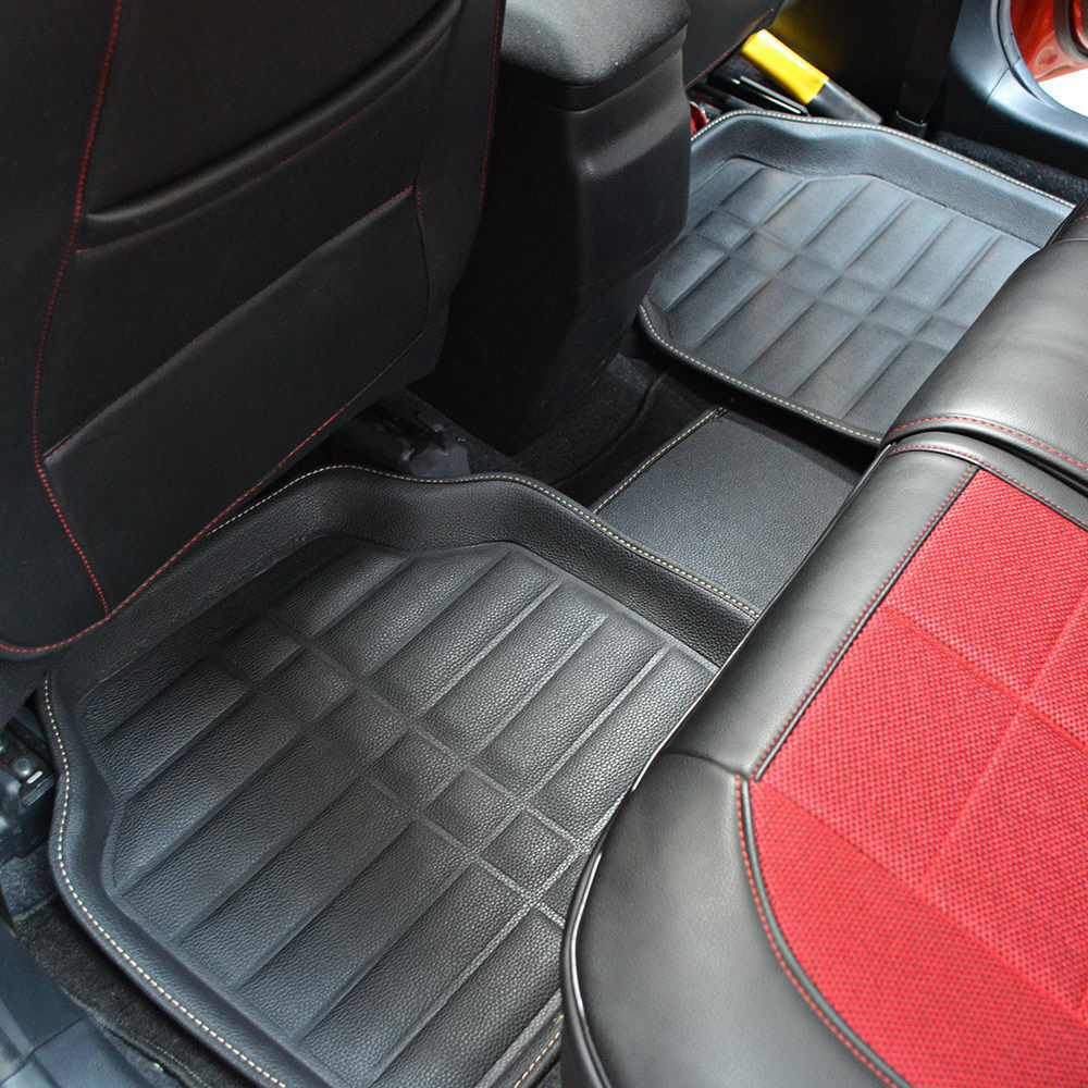 universal car floor mats floorliner front rear carpet all weather 5pcs mat black ebay. Black Bedroom Furniture Sets. Home Design Ideas
