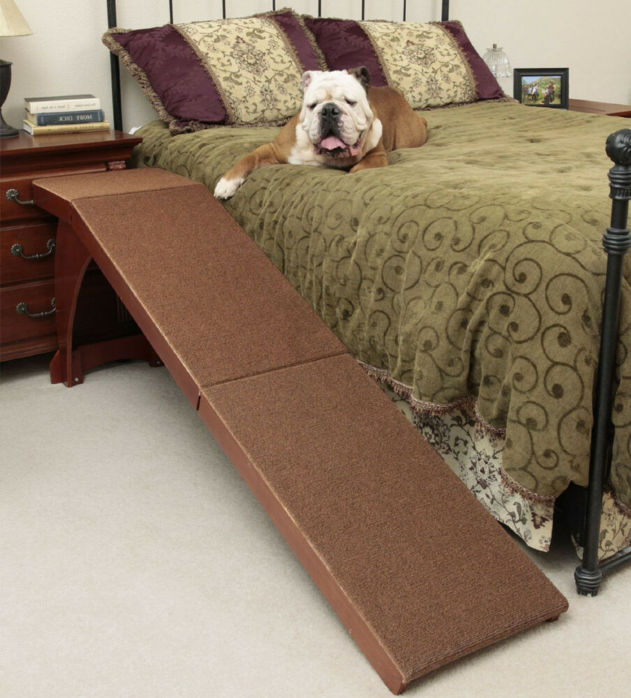 Dog Ramp For Bed Carpeted Surface Grip 25 Inch Easy Climb
