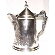 Ice water Pitcher, Egyptian Revival, silverplate, Rogers, ivy, patent 1854-68