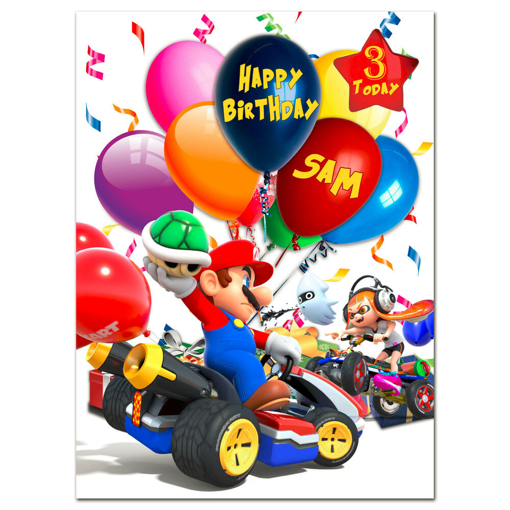 G406 Large Special Personalised Birthday Card Your Text Mario