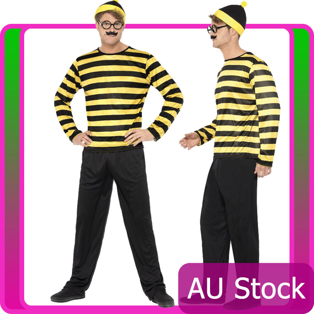 d5770a9287d1bb Mens Wheres Wally Odlaw Costume Yellow Waldo Where s Wally Fancy Dress Book  Week