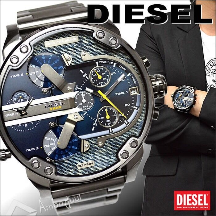 diesel men 39 s dz7331 mr daddy 2 0 gunmetal tone stainless. Black Bedroom Furniture Sets. Home Design Ideas