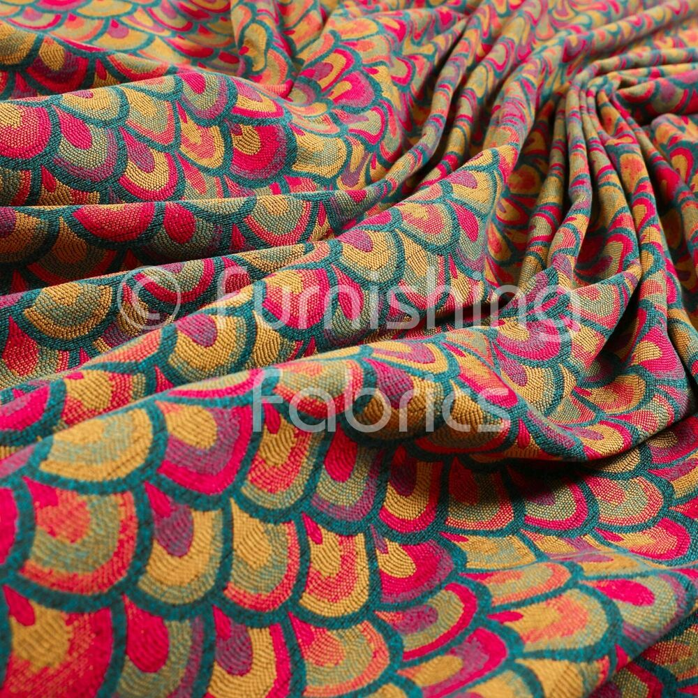 Lightweight Medallion Peacock Pattern Pink Red Teal