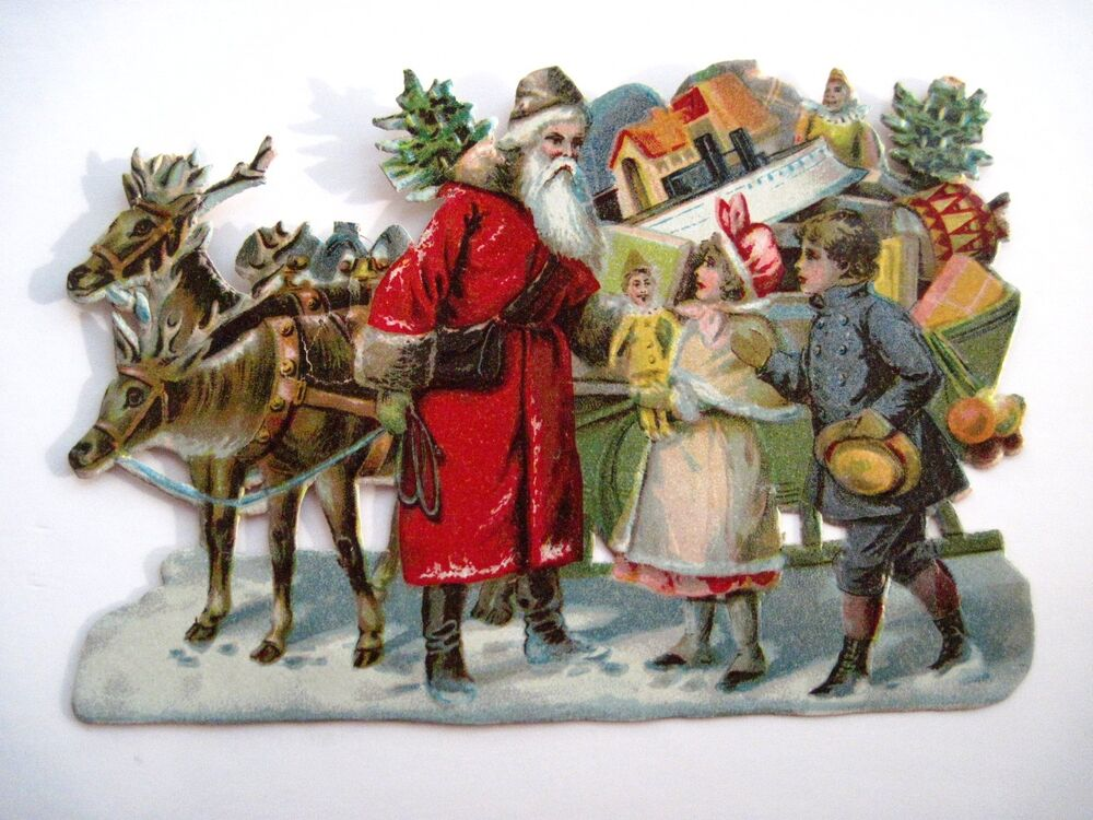 Vintage victorian antique christmas die cut w santa