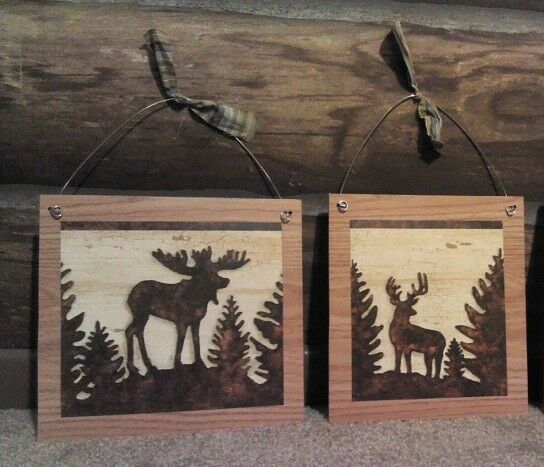 2pc rustic pictures lodge buck moose deer log cabin wall for Rustic bear home decor