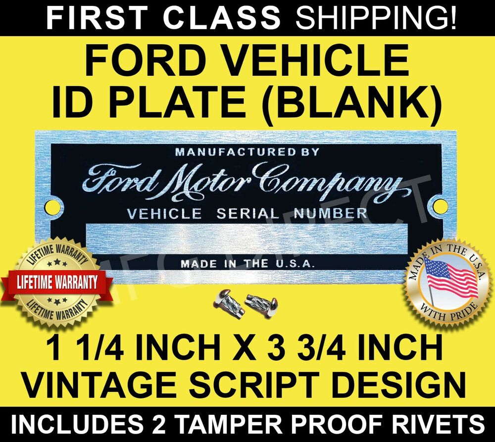 Data Tagging: FORD MOTOR COMPANY ID TAG DATA DOOR PLATE SERIAL VIN