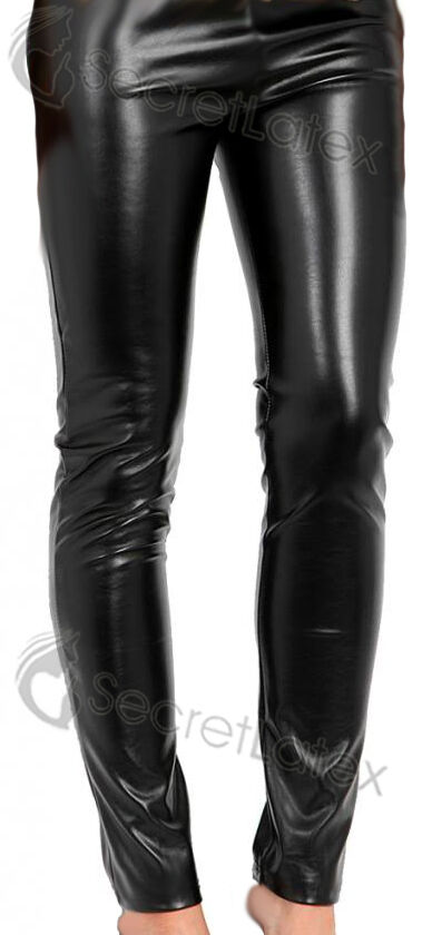 black rubber latex leggings trousers womens ladies shiny bottoms