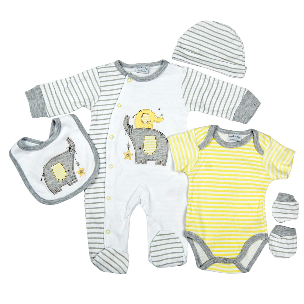 Cute 5 Piece Unisex Baby Boys Girls Clothing Layette Gift ...
