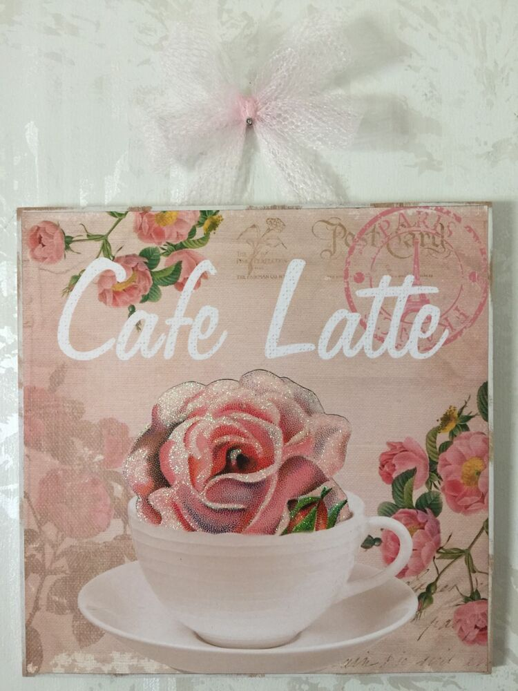 New shabby paris cafe latte plaque picture sign wall for Cafe latte decor