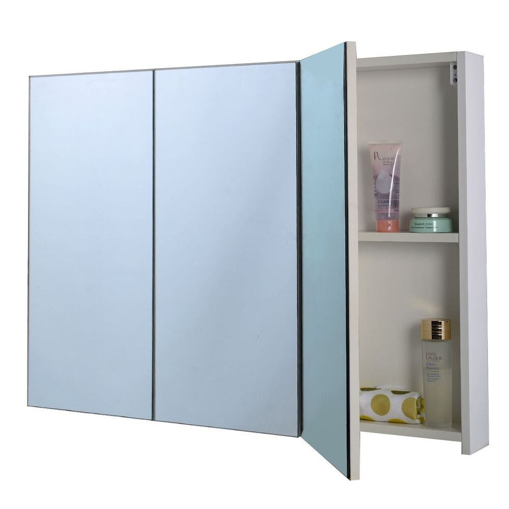 Bathroom storage cabinet with 3 mirrors cupboard bath medicine organizer rack ebay for Bathroom mirror cupboard