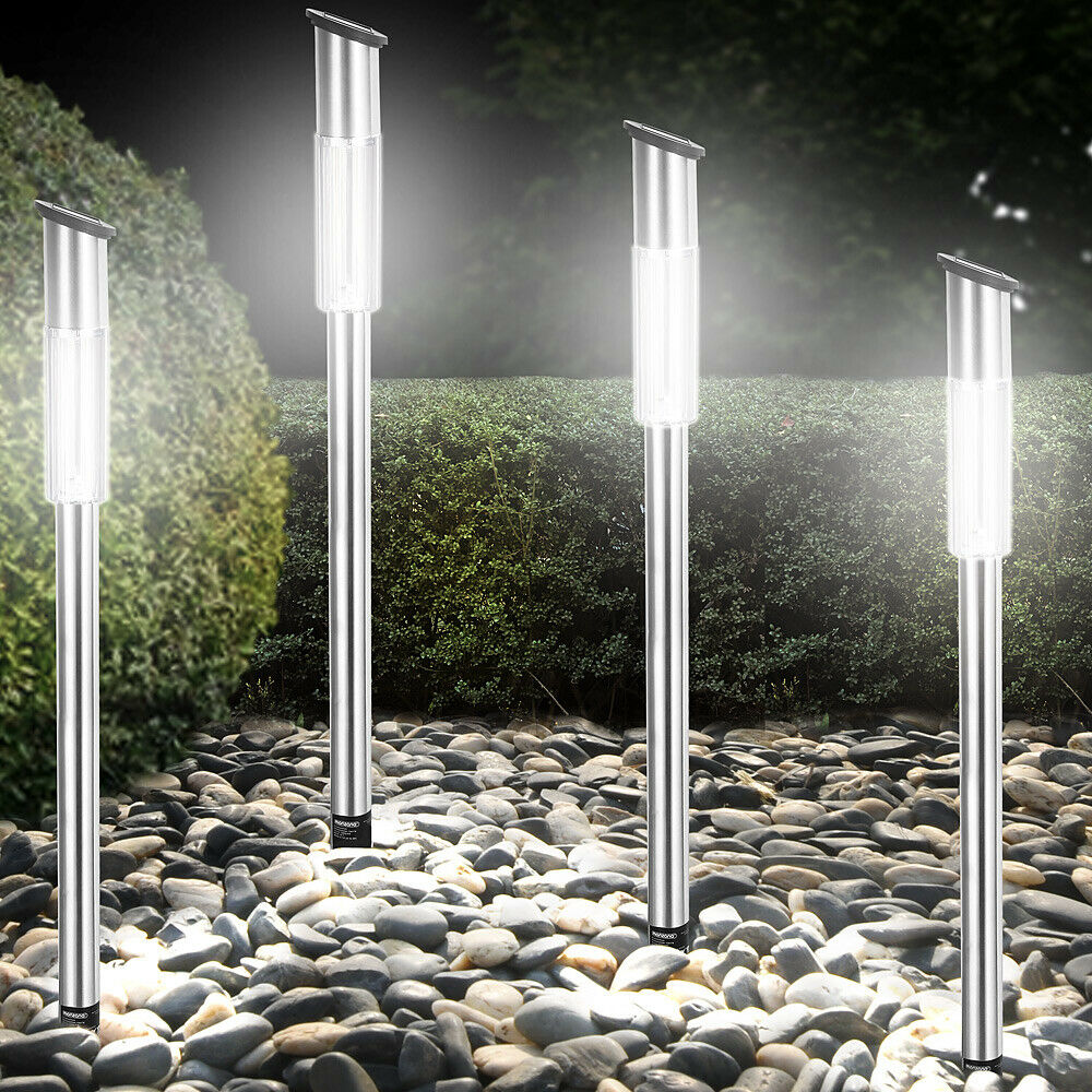 4x led solar lampe steckleuchte gartenlampe leuchte garten beleuchtung wei ebay. Black Bedroom Furniture Sets. Home Design Ideas