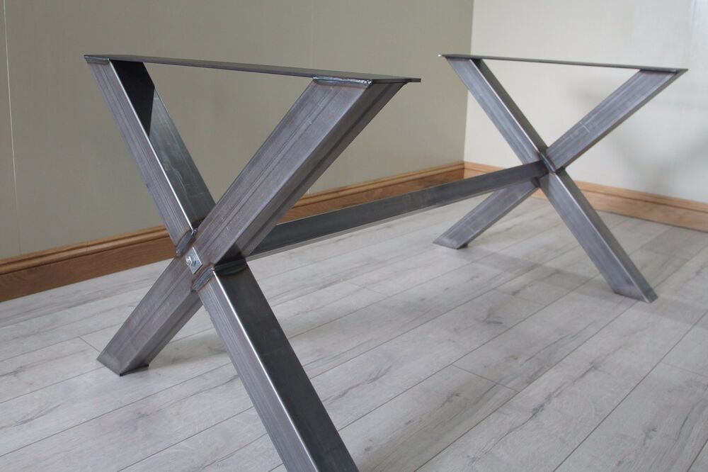 X Cross Shaped Industrial Dining Table Legs With Metal Erw