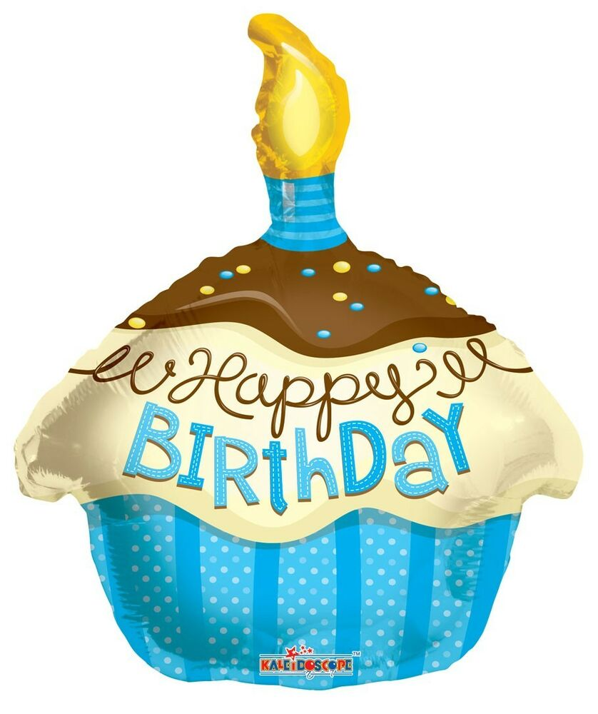 "Balloon 18"" Happy Birthday Blue Cupcake With Candle Mylar"